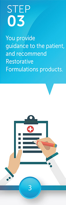 Step 3. You provide guidance to the patient, and recommend Restorative Formulations products.